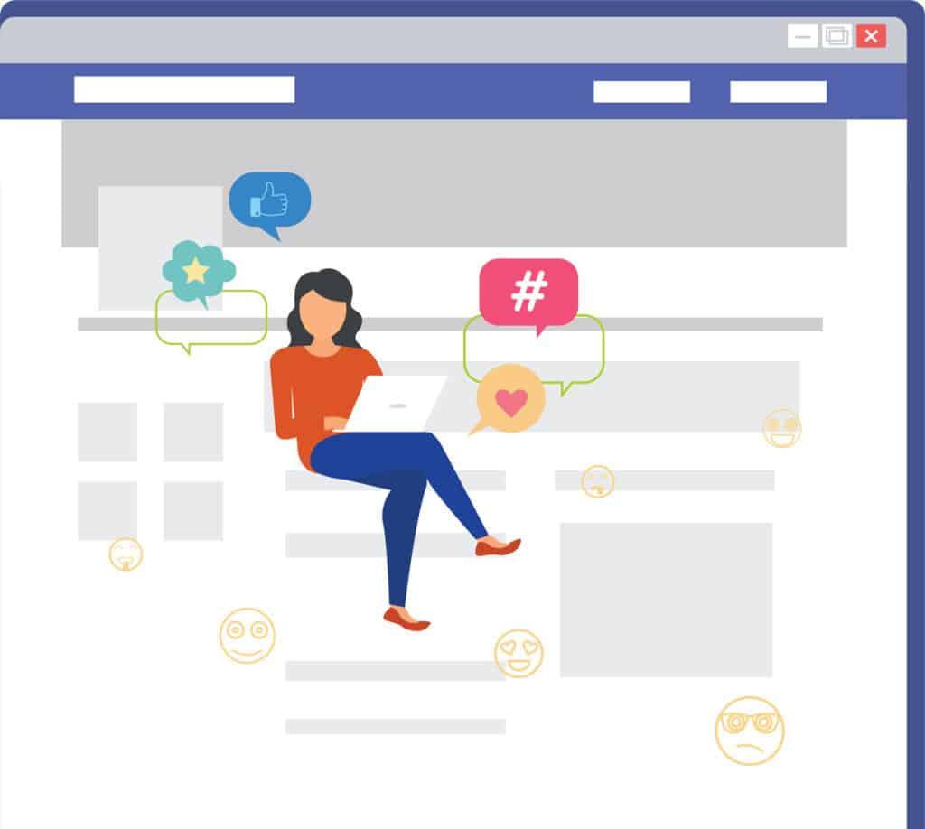 בחורה יושבת עם מחשב ומקבלת לייקים על ידי פרסום בפייסבוק